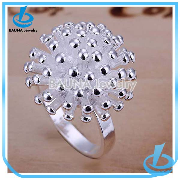 Wholesale fashion snow flower bali silver poison ring