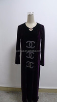 Latest rhinestone pattern keyhole front velvet long sleeve maxi dress
