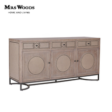 Vintage Industrial Solid Wood Oak Patterned Nails Curved Metal Base Living Room Furniture Cabinet Sideboard With 3 Drawers