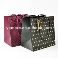 Art Paper black and white polka dot bag,polka dot paper bag,paper bag polka dot for shopping with pp handle