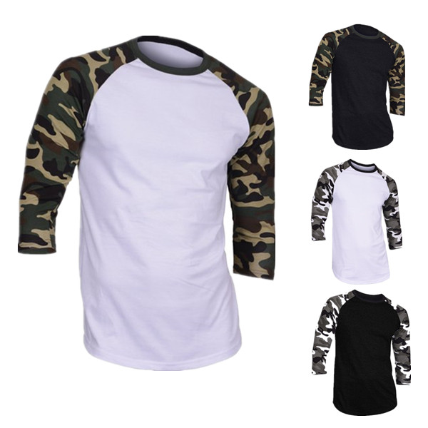 TS1701 Men's Casual 3/4 Sleeve Baseball Tshirt Raglan Jersey Shirt