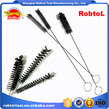 tube cleaning brush stainless steel round spiral wire pipe cleaner washing bottle long handle