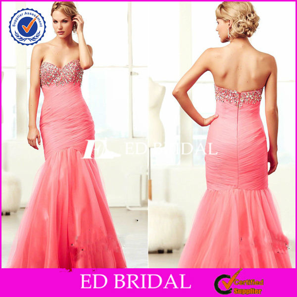 Mermaid Sweetheart Ruched Crystal Beading Tulle Italian Cocktail Dresses