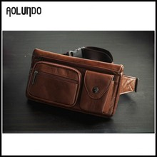 Guangzhou wholesale handmade leather waist sports elastic bag for men