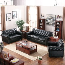 2017 american <strong>modern</strong> latest design classic style living room furnitue black genuine leather sectional wooden sofa set