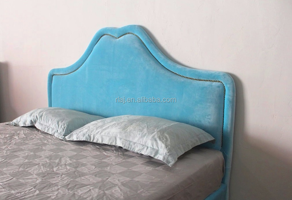 New heart shaped headboard velvet fabric soft king size bed