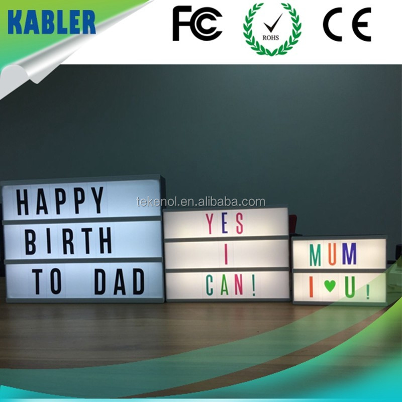 A3 / A4 / A5 Size New style Free Combination Led Cinematic Light Box with Letters