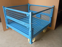 RH-C02-wheel steel crate 1100*1100*740mm blue movable foldable stoarge cage steel container metal storage cages with 4 wheels