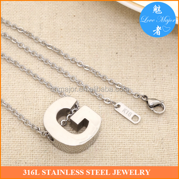 Latest letter <strong>G</strong> jewelry of stainless steel pendants necklace design for anybody