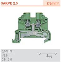 Screw cage and PE terminal block weidmuller SAKPE 2.5 protective earth/grounding terminal wire connectors