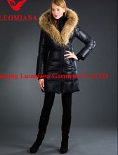 Real Fur Coats For Women Fur Trim Hooded Down Coat Women's Down Coat With Big Trim Fur Collar 813C6011