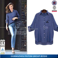 Guangzhou Paton factory custom plus size ladies christmas shirts and blouses