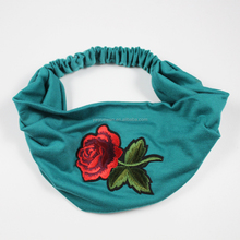 High quality embroidery printing rose flower headband