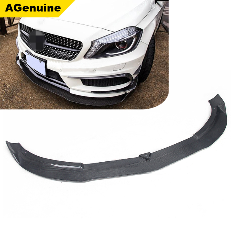 Real carbon fiber car front bumper lip spoiler front extensions chin for mercedes benz CLA 180 200 250 260 45 class <strong>W117</strong>