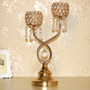 Unique romantic 2 arms crystal metal tree branch candle holder for wedding favors