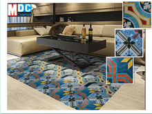 20*20 cm geometrical chequered pattern bright oil painting color decorative glazed rustic ceramic floor tiles