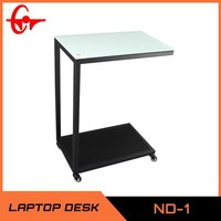 new design hot sale glass laptop desk with wheels, relaxation coffee desk, side table ND-3