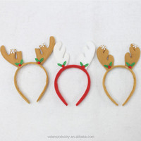Wholesale Cheap Funny Cute Santa Claus Christmas Party Reindeer Antlers Headdress with Deer Horns Ornament