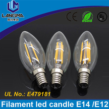 Langma E12 4 Watt LED Filament Candelabra Light Bulbs Chandelier Torpedo Clear Glass Cover 110V AC led filament lamp