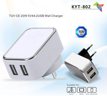 5V 4A cell phone usb travel charger TUV CE certified dual ports android phone