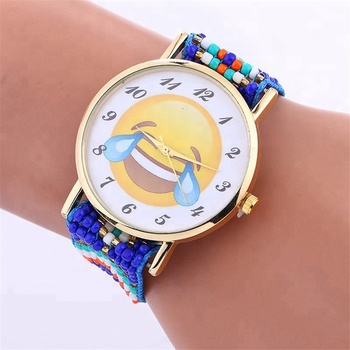 Fashion no logo emoji beaded watch for women gold case wrap quartz elegance watch wholesale wristwatch hot selling