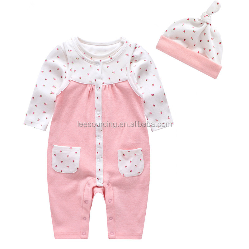 Summer baby girl clothes cotton romper set toddler organic pink dot playsuit
