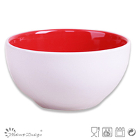Ceramic stoneware microwave safe rice bowl two tone design