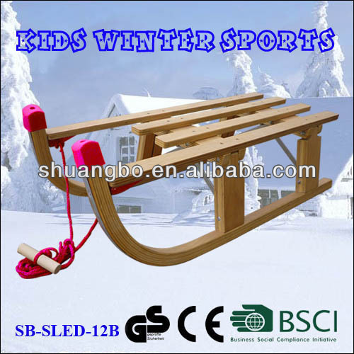 Children Wooden Folding Sledge Snow 80CM (SB-Sled-12B)