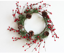 30cm Outside Diameter cheap Christmas Wreath W/Pine Cone,Berries and Pine Needle In Red