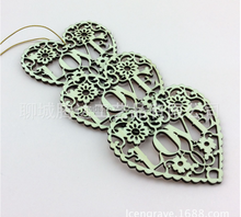 laser lace unfinished natural crafts wood heart love ,wedding ornaments wood love heart