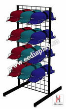 Black hardware hipho cap display racks with double sided/two-sided gridwall flooring holder/flooring caps display promotion