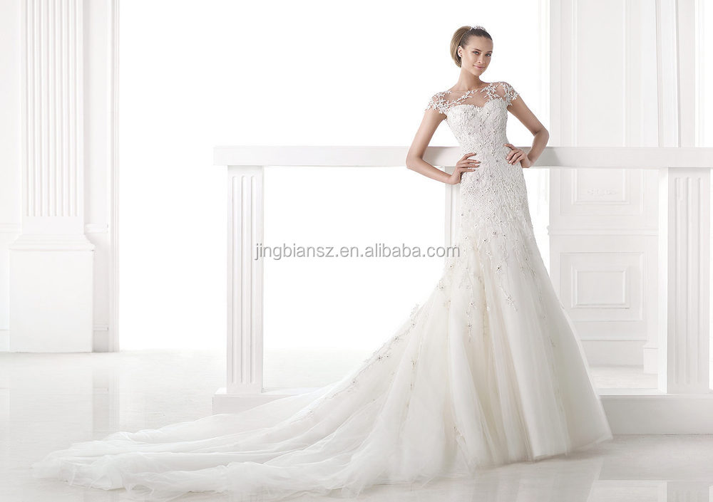 2015 unique design lace pattern luxury bridal wedding dress #OW245