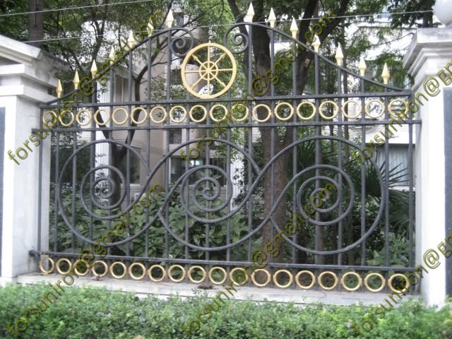 Decorative metal fence panels for garden boundary