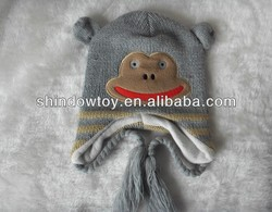 Hand knitted winter animal hat smile monkey pattern