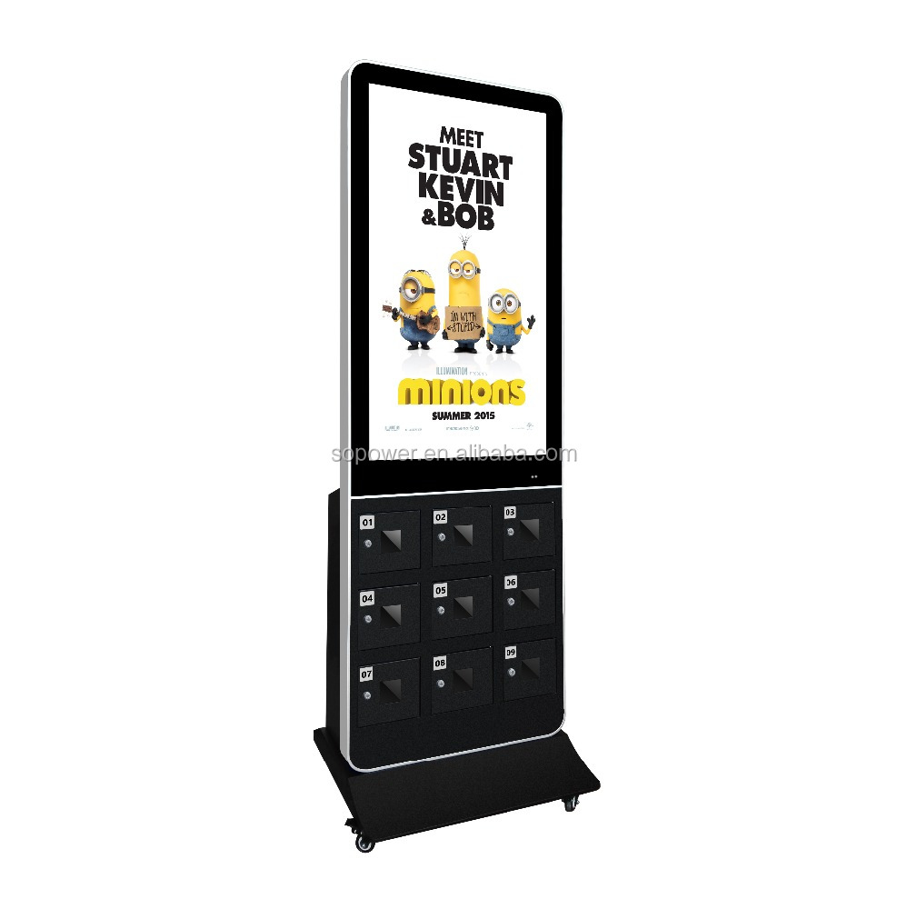 Network floor stand HD 42 inch wifi tv/digital signage with multiple phone charging station