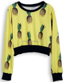 long sleeve pineapple sublimation printing cropped sweatshirts ,2015 china wholesale women fashion hoodies and sweatshirts