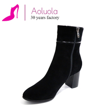 custom made leather boots suede leather block heel FACTORY DIRECTLY SUPPLY leather boots women