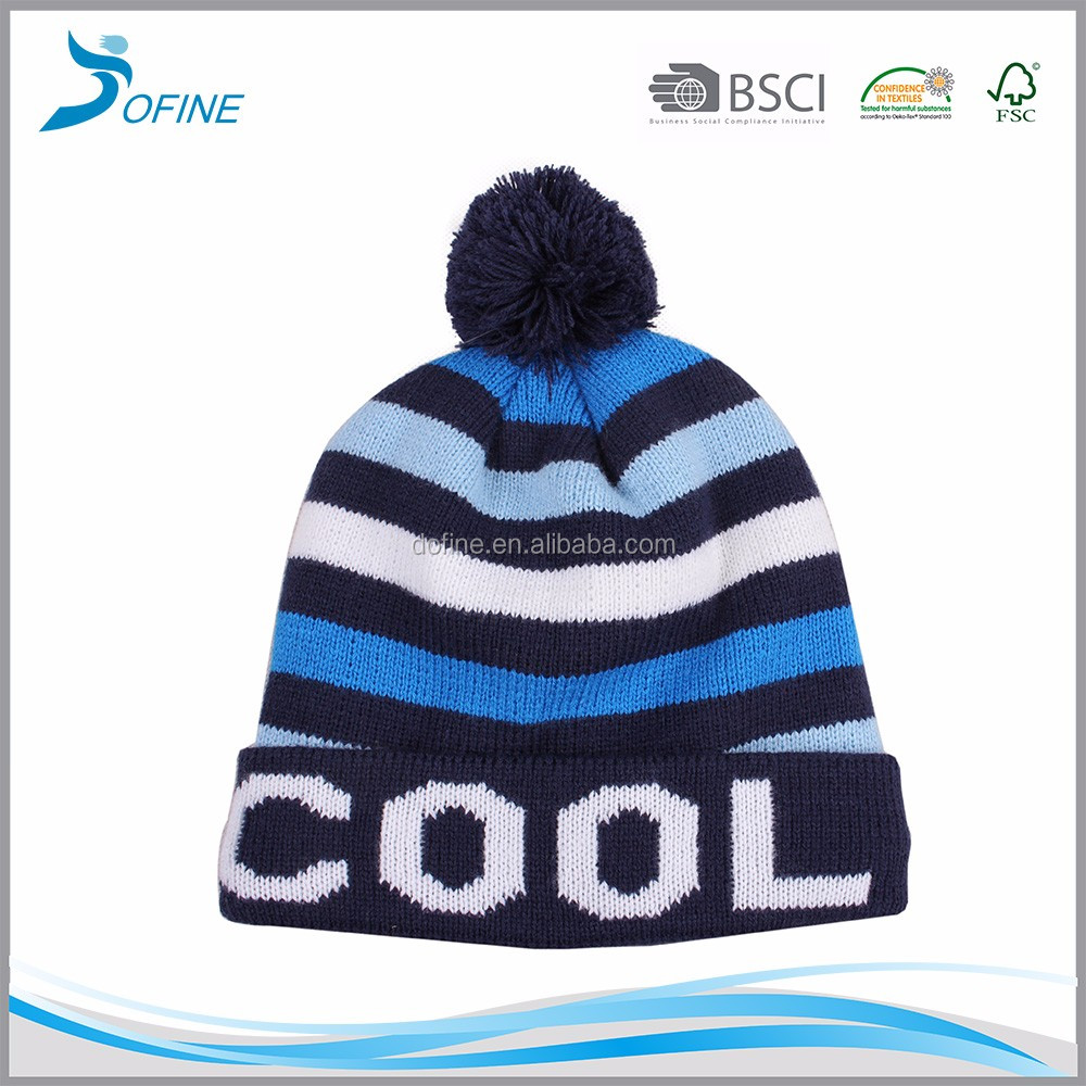 Hot selling cute warm kid's toque children ski winter hat cap with pom pom