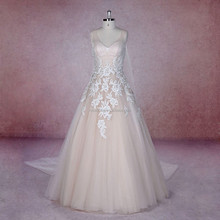 Rosa Bridal Embroidered lace rose Hand-Beaded V Neckline Wedding Dress With Tulle shawl xy-1669
