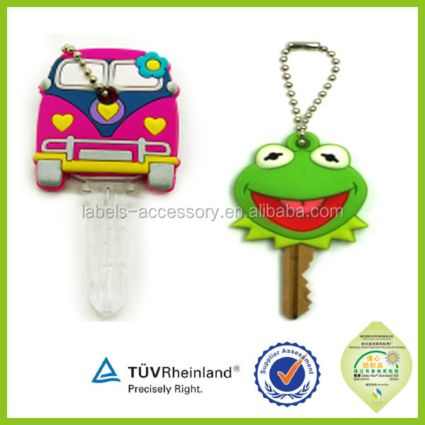 Custom souvenir key cap embossed 2d/3d soft pvc silicone rubber keychain car key cover