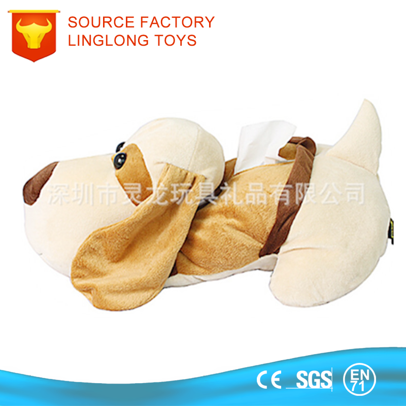 Plush Family/Car/Hotel Dog Tissue Box Lie Prone Doggy Tissue Box Plush Dog Tissue Cover