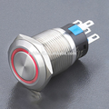 Ring illuminated stainless steel push button switch with LED