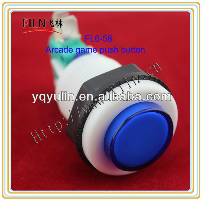 non-illuminated 27MM Round Plastic blue Arcade game button With Microswitch