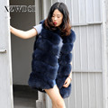 CX-G-B-18B Fashion Winter Thick Navy Color Genuine Fox Fur Ladies Vest