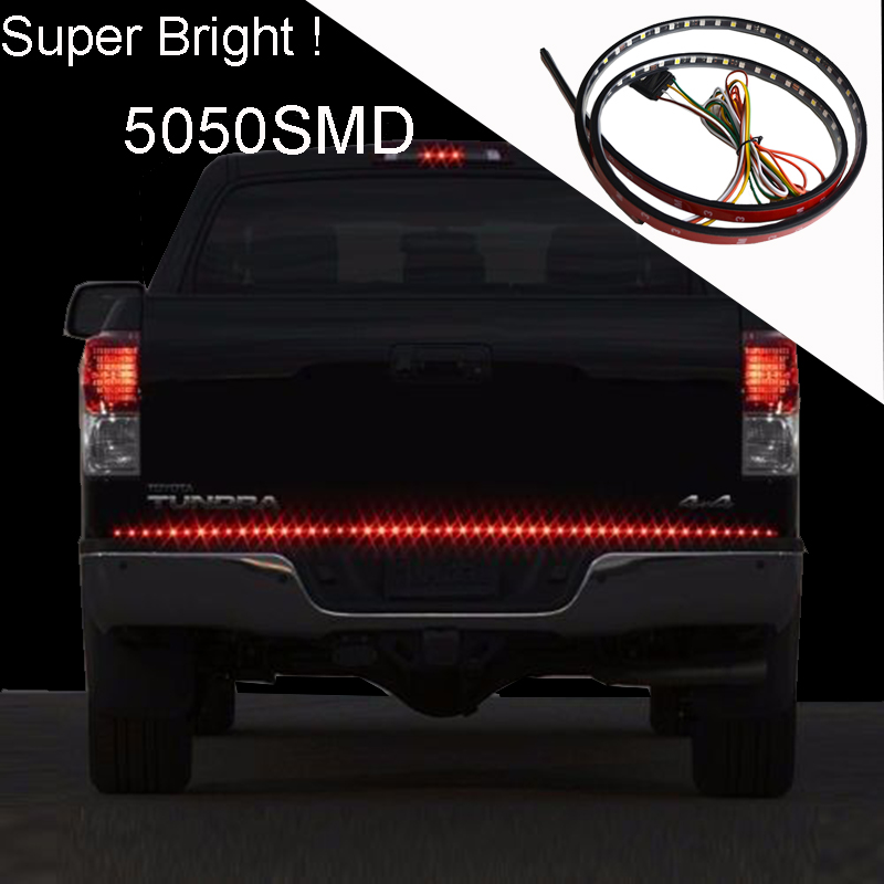 Universal 60 Inches Red/White Tailgate Rigid LED Strips Light Bar Reverse Parking Brake Turn Signal Lights for Pickup Trucks SUV