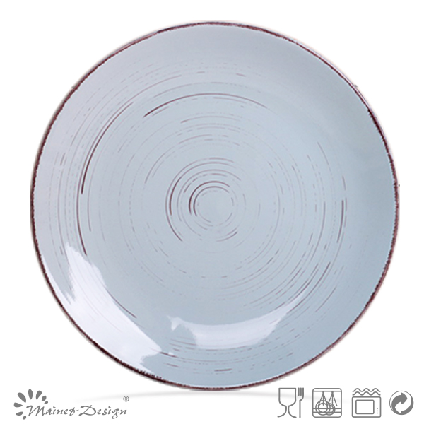 "10.5"" Cheap Dishes light blue color plate and dishes dinner plate"