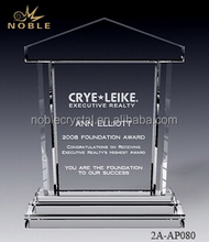 Clear Glass High Quality Custom Engravable House Shaped Obelisk Crystal Plaque Trophy Award With Base.