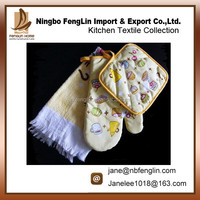 Funny Sweet Cake Printed Kitchen Cooking Promotion Gift Pot Holder Dish Terry Towel And Oven Mitten Set