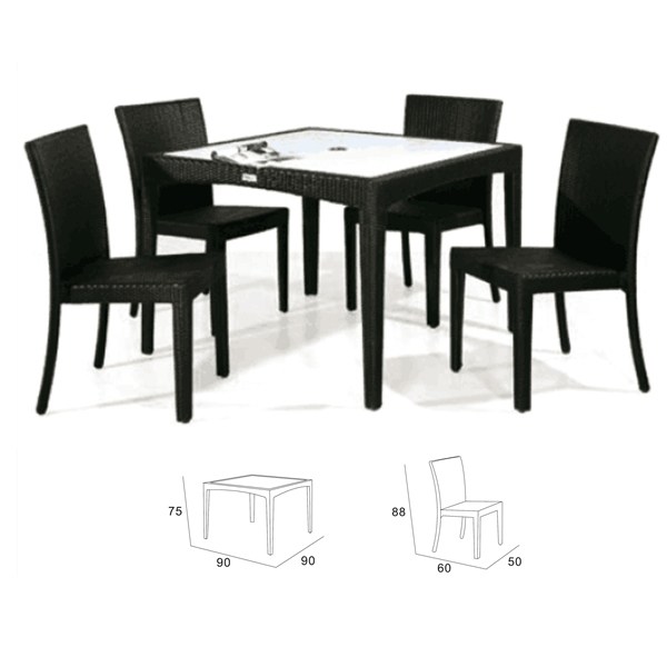 PE Cane black color 1table 4 chairs Rattan Wicker restaurant sets universal furniture manufacturer DCD1003