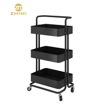 High Quality Three Tiers Metal Kitchen Moving <strong>Fruit</strong> and Vegetable Storage Rack With Wheels